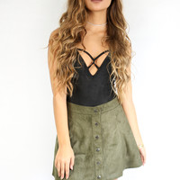 Shy By No Means Black Suede BodySuit