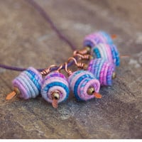 Copper Wire Wrapped Bead Drop Dangle. Fabric Textile Bead.