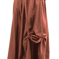 Tan Steampunk Skirt with Leather Belt and Chain Detail