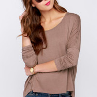 LULUS Exclusive Make Your Move Brown Long Sleeve Top