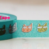 Aqua blue Washi Masking Tape Roll Adhesive Stickers with Colorful cats faces WT62