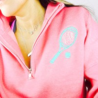 Monogram Quarter Zip Sweater - Coral