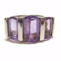 Sterling 3 Stone Oval Amethyst Ring Size 6