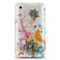 GNWE Premium Hard Crystal Plastic Snap-on Case for Apple iPhone 3G, 3GS 3G-S - Pearl White Autumn Floral Flower