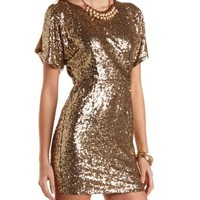 Cold Shoulder Bodycon Sequin Dress by Charlotte Russe - Gold Metallic