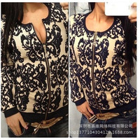 women cardigans sweater blazer cardigan blue white porcelain printed long-sleeve knitted sweaters = 1920454788