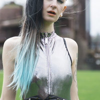 Ombré Light Blue Dip Dyed 7pcs Straight Clip-In Hair Extensions
