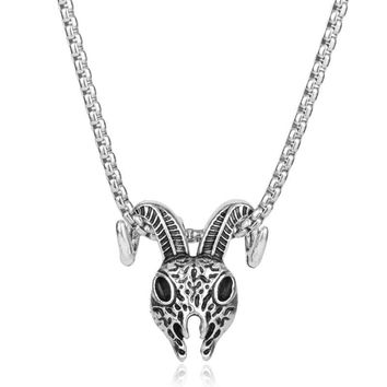 Pentagram Goat Head Pendant Amulet Sabbatic Occult Red Eye Goat Necklace Retro Silver Pagan Magical Ritual Jewelry MB