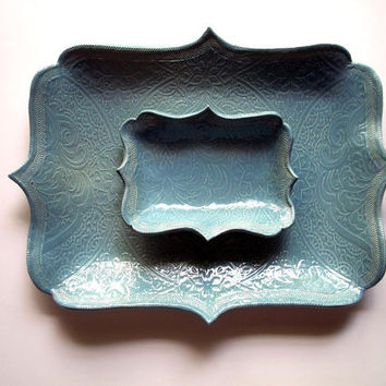 French Blue Oblong Brocade Chip and Dip Set