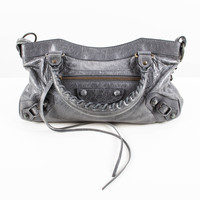 Dark Grey Cracked Leather Mini-bag with Streamer Tassles