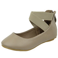 Kids Ballet Flats Elastic X-Strap Girls Leather Fahion Shoes Taupe SZ