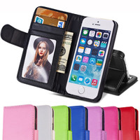 Photo Frame PU Leather Case For iPhone 5 5S SE 5SE 4 4S Coque Phone Bag Wallet Style Stand Holder 2 Card Slot Protector Cover