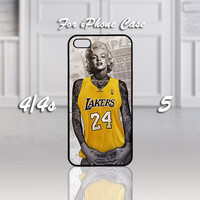 LA Lakers Marilyn Monroe Tattooed, Design For iPhone 4/4s Case or iPhone 5 Case - Black or White (Option)