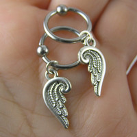 Sexy Pair Silver Feathered Angel Wings Captive Bead Rings Set Nipple Hoops ~ 14g 16g Conch Cartilage Intimate Piercing