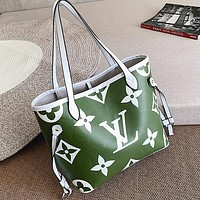 Supergirls22 LV  Louis Vuitton LV Newest Fashionable Women Shopping Bag Leather Shoulder Bag Handbag Satchel Green