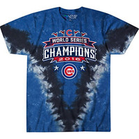 Chicago Cubs 2016 World Series Champions Emblem Exclusive Tie-Dye T-Shirt FREE Priority Shipping