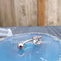 "14g Belly Button Ring Rose Gold 3/8"" Prong Set Navel Clear Gemstone IP 8mm Curved Barbell Stainless Steel Body Jewelry Stone Jewellry"