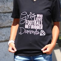 Girls Who Love Football... V-neck {Black}