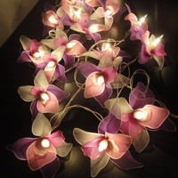 Thai Vintage Handmade 20 White Pink Purple Orchid Flower Fairy String Lights Wedding Party Decor 3.5m