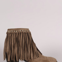 Liliana Suede Chained Fringe Chunky Heeled Ankle Boots