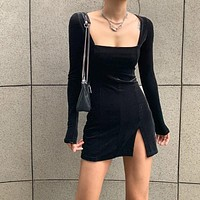 Velvet Women Dress Elegent Split Femme Dresses Party Long Sleeve Gothic Clothes