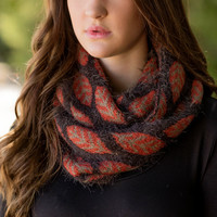 'Leave' A Mark Infinity Scarf-Rust