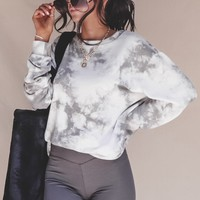 Bay Watch Grey Tie-Dye Long Sleeve Top