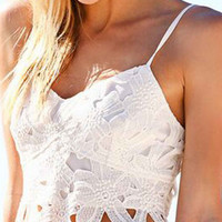 White Strappy Crochet Lace Bralette Top