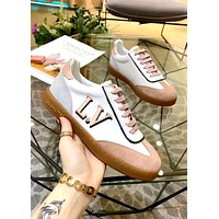 LV 2019 new female models personality versatile lace sports and leisure flat shoes pink