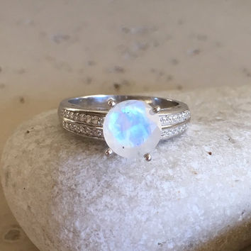 Solitaire Moonstone Ring- Engagement Ring- Sterling Silver Ring- June Birthstone Ring- Rings for Her- Wedding Ring- Moonstone with CZ Ring