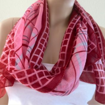Pink Plaid Scarf Shawl for Dresses, Womens Fashion Scarves