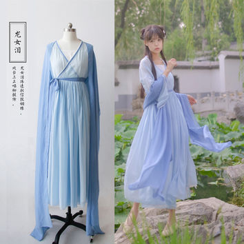 """Tears of the Dragon Lady"" 3Pcs Set Women's Chinese Style Vintage Daily Dress Fairy Kei Hanfu Long Dress Long Sleeve Spring"