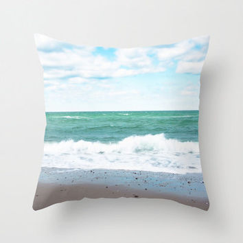 """SALE Teal Blue Green Ocean SAVE 20 Percent 18"""" Throw Pillow Cover - Super Soft Velveteen - READY to Ship"""