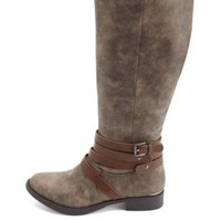 Burnished Belted Knee-High Riding Boots by Charlotte Russe