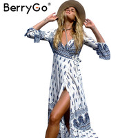 BerryGo Boho floral print chiffon split long dress Women sash wrap maxi  sexy dress Eleagnt beach summer v neck dress vestidos