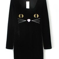 Cat Embroidered Dress