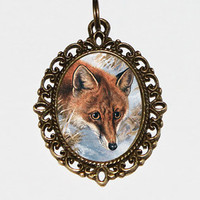 Fox Necklace, Foxes, Fox Jewelry, Oval Pendant