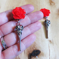 """2g 0g 00g 7/16"""" 1/2"""" 9/16"""" (6mm-14mm)  / Dangly Rose Bird Skull / Plugs Gauges Stretchers Earrings / Stretched Gauged Ears"""