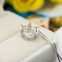 Crown Necklaces,Female Fashion Bear Pure Silver Necklaces,Gold Necklaces,Sterling Silver Cute Necklaces,Necklaces for Women,Fashion Necklace