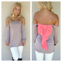 Mocha Off Shoulder Pink Bow Top