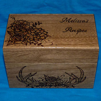 Rustic Recipe Box Personalized Engraved Wedding Recipe Card Holder Antler Wooden Recipe Box Owl Carved Wood Box Succulents Bridal Gift