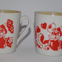 Soviet vintage ceramic set of 2 mugs, Made in Poland, Hand printed Dog, Hearts, Butterfly, Flowers glazed, White & Red, USSR Children's Cup