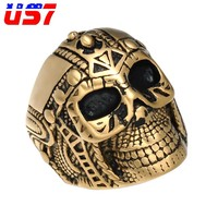 US7 Vintage Punk Rock Gold Stainless Steel Biker Skeleton Rings Retro Skull Tibetan Gothic Soldier Ring For Men Jewelry Gift