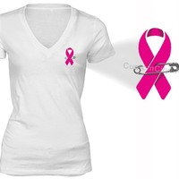 XtraFly Apparel Women's Pocket Pink Ribbon Breast Cancer Ribbon V-neck Short Sleeve T-shirt