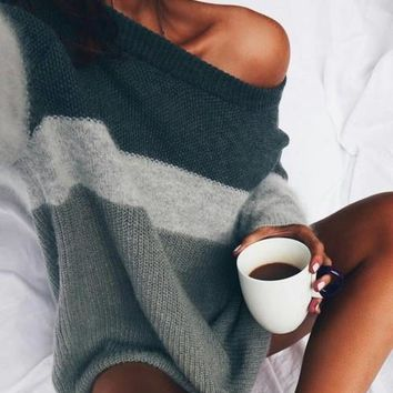 Loose Long-Sleeved Knitting Striped Sweater