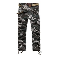Men Straight Camouflage Cargo Pants Military Casual Loose Army Pants Washed Trousers Pantaloons Hombre
