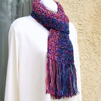 Winter Scarf, crocheted in Red and Blue Harlequin Tweed, by Jan4insight
