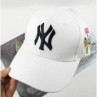 NY New fashion embroidery letter butterfly couple cap hat White
