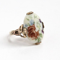 Vintage 10k Yellow Gold Filled Ceramic Flower Cameo Ring - 1940s Size 6 Bow Filigree Hallmarked Vargas Floral Rose Jewelry