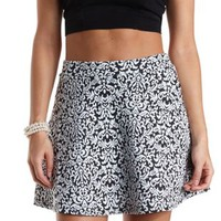 Textured Damask Skater Skirt by Charlotte Russe